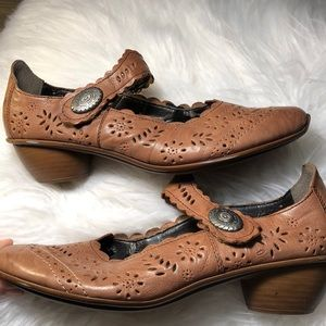 Rieker embossed leather Mary Jane shoes